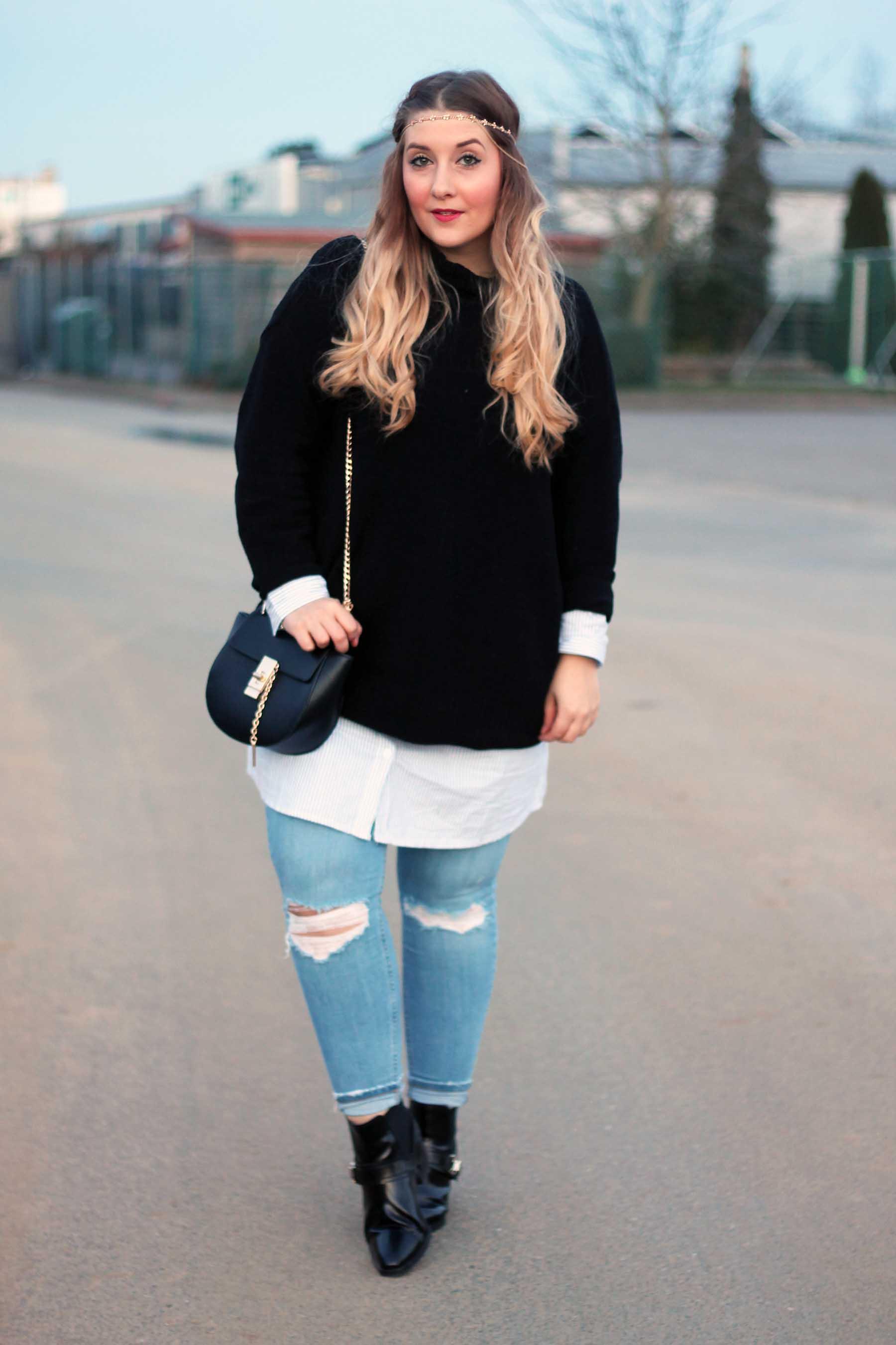 outfit-modeblog-fashionblog-ostern-look-drew-tasche-chloe-jeans-hemdkleid