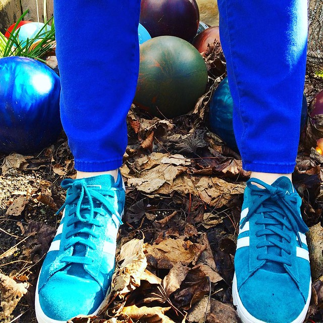 Teal shoes and fall leaves in the bowling ball garden.