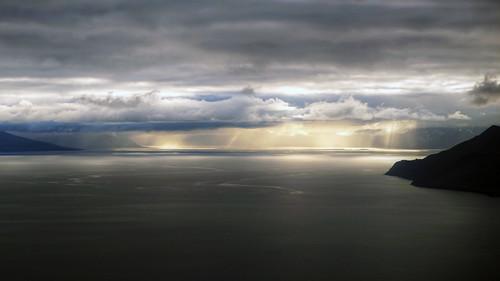 clouds sunrise landscape islands europe aerial svalbard arctic polar spitsbergen