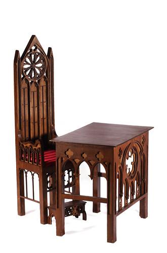 Gothic throne m02& Gothic desk m01