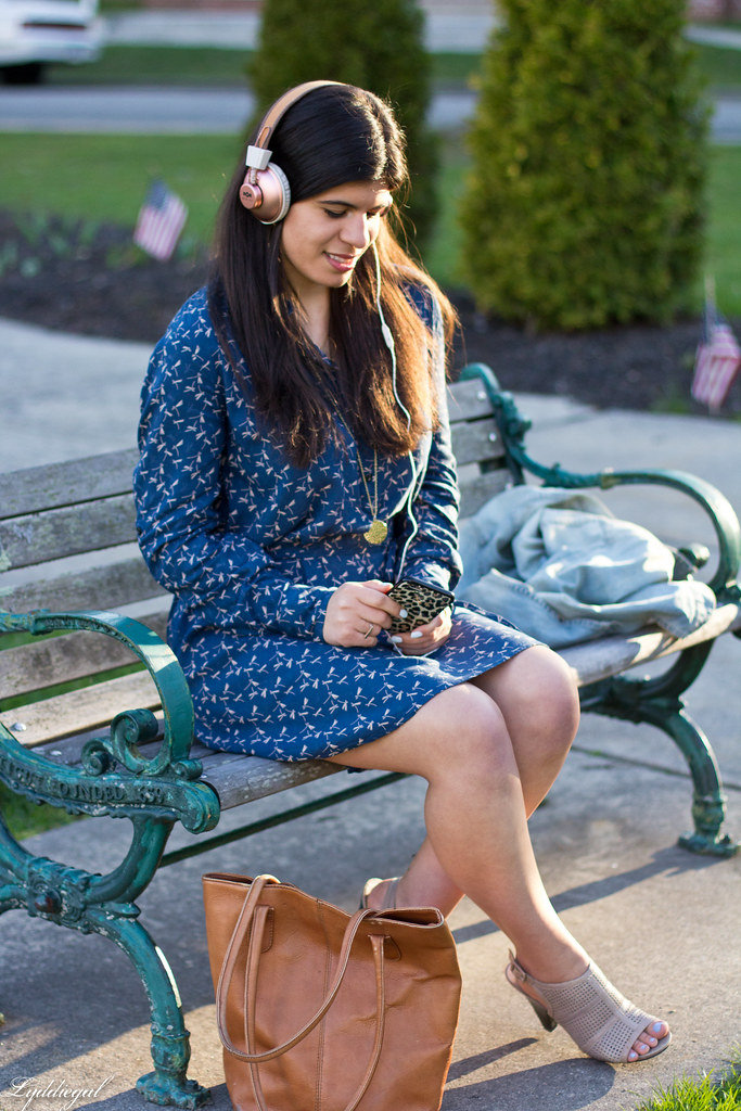 dragonfly dress, brown tote, mules, marley headphones-11.jpg