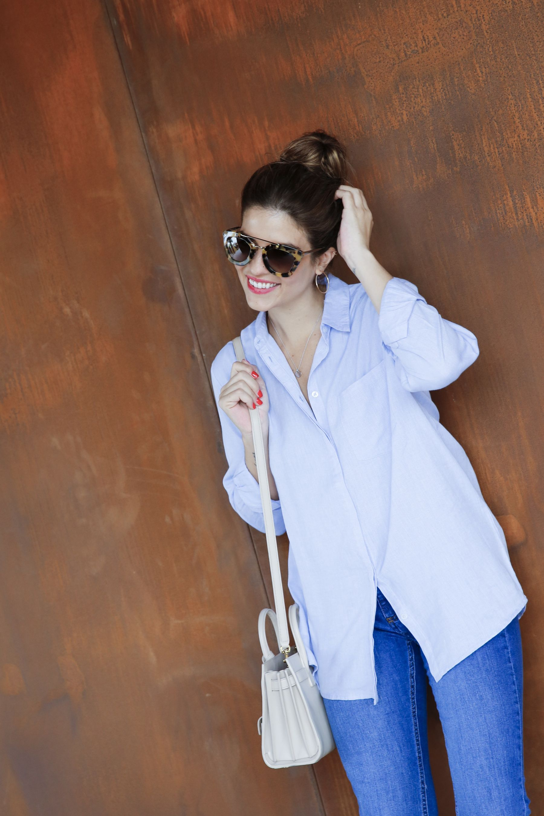 outfit look primavera spring camisa oxford zara calzedonia Yves saint laurent bolso bag prada sunglasses verona street style trendy taste_23