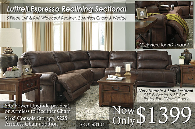 Luttrell Espresso Reclining Sectional
