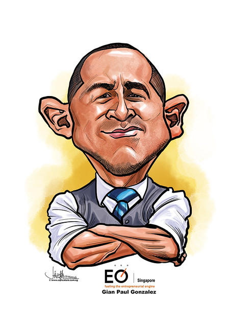 Gian Paul Gonzalez digital caricature for EO SIngapore