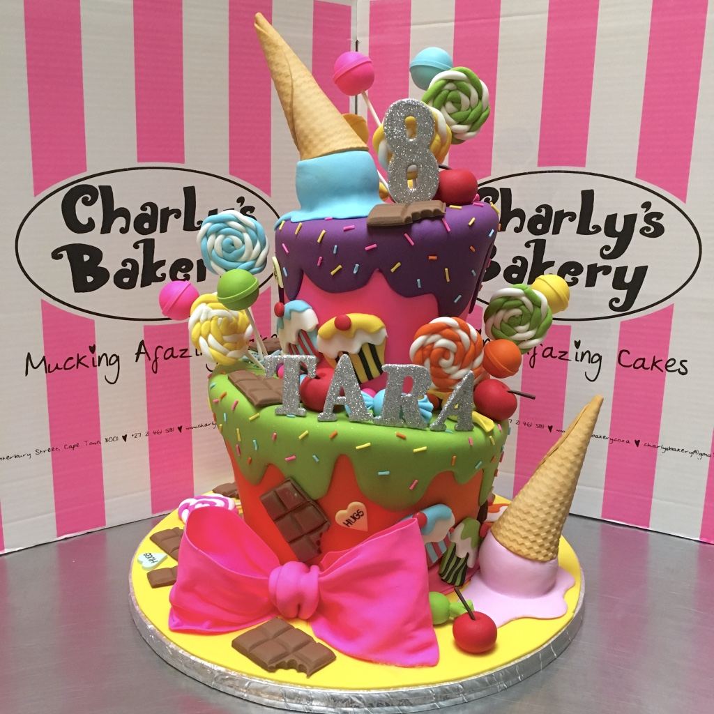 2 Tier Mad Hatter Candy Land Themed 8th Birthday Cake With 3D Ice Cream Cones