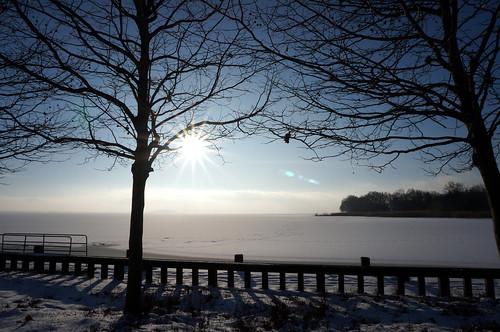 balaton révfülöp révfülöpimóló winter tél sun january január lensflare plattensee frozen snow trees sky lake skyline wintersun pier sonynex nex3n 16mm tree milc hungary
