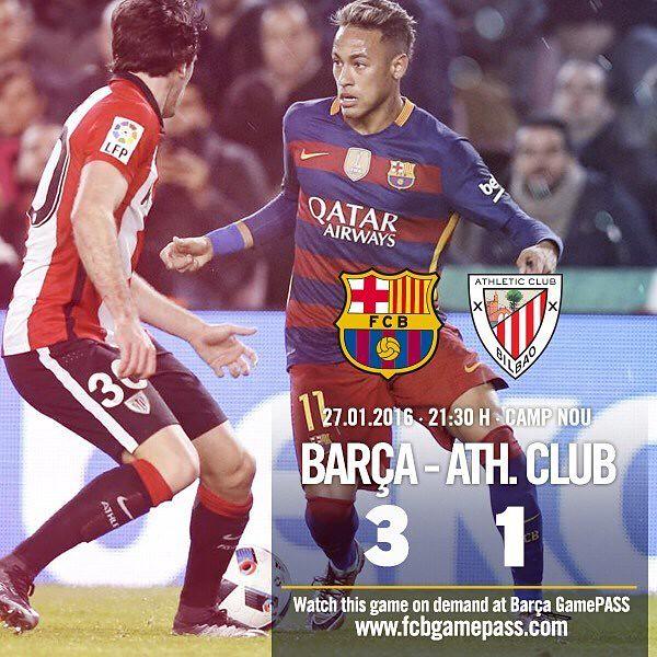 Copa del Rey - Cuartos de Final (Vuelta): FC Barcelona 3 - Athletic Club de Bilbao 1