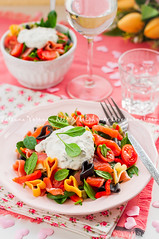 Salmon and Heart Shaped Pasta Salad with Creamy Dr…