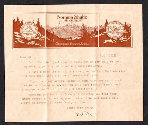 Norman Shultz letter 1924