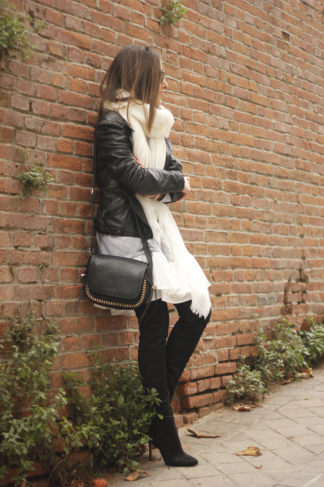 Leather Jacket gray dress over the knee boots style outfit fashion coach bag white scarf11