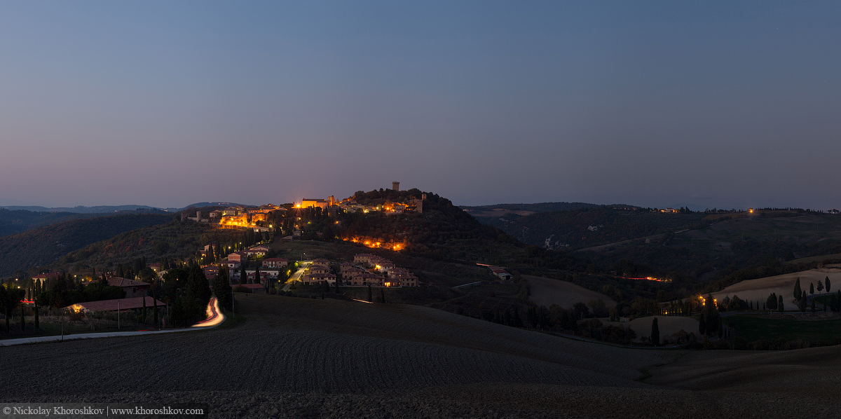 Panorama of Pienza on the hill