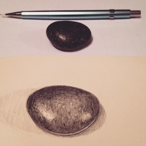 Sketch of a stone my grandmother gave me when I was about my daughter's age. It's supposed to predict the weather.