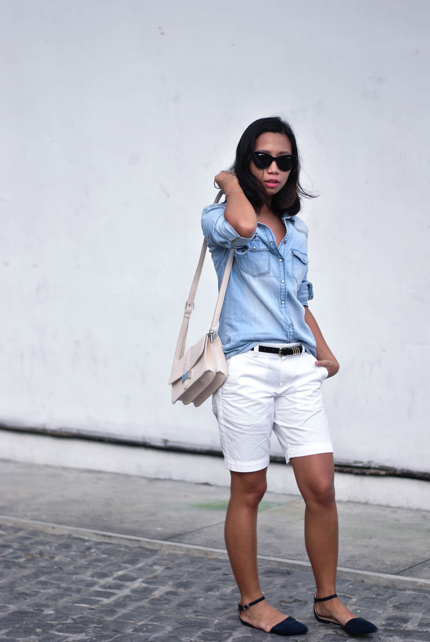 sunniesandstyle, denim shirt, chino knee length pants