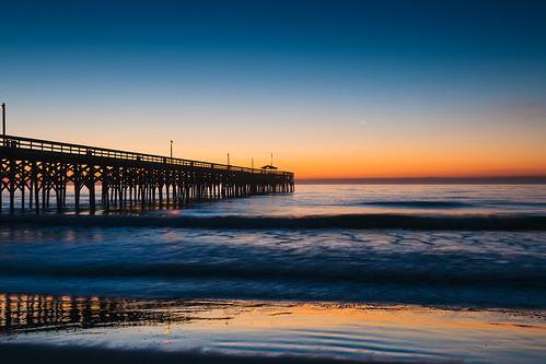 ocean blue sea sky orange beach sc water sunrise landscape dawn star coast pier seaside venus outdoor southcarolina shore planet serene bluehour atlanticocean pawleysisland lowcountry atlanticdawn