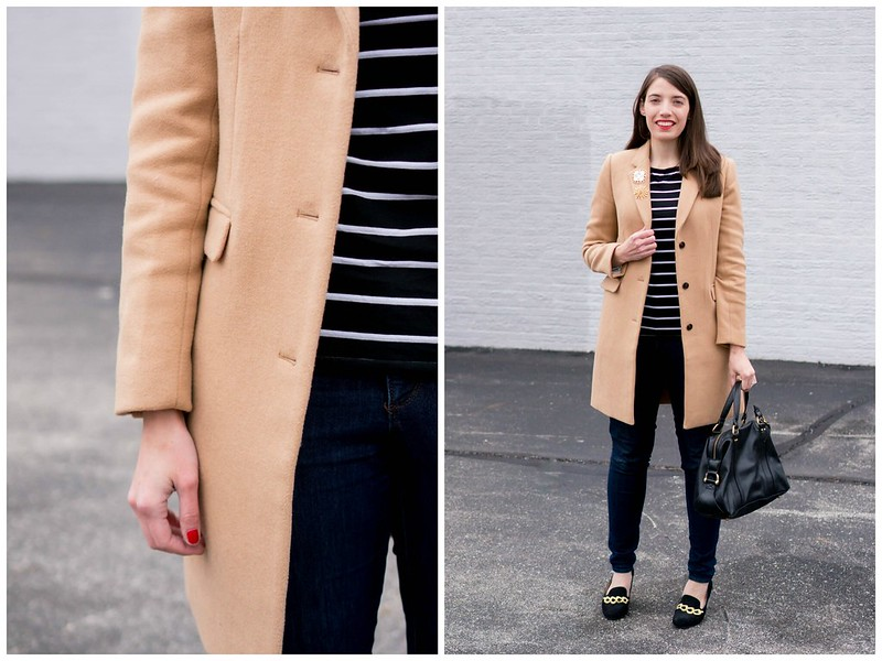 stripes + camel coat + jeans + brooches + loafers | Style On Target