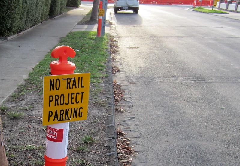No rail project parking - sign at Ormond during level crossing removal works