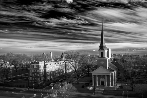Notley Hawkins Photography, Downtown Columbia Missouri, Skyline, architecture, First Baptist Church, Stephens Collage, Broadway, monochrome, black and white