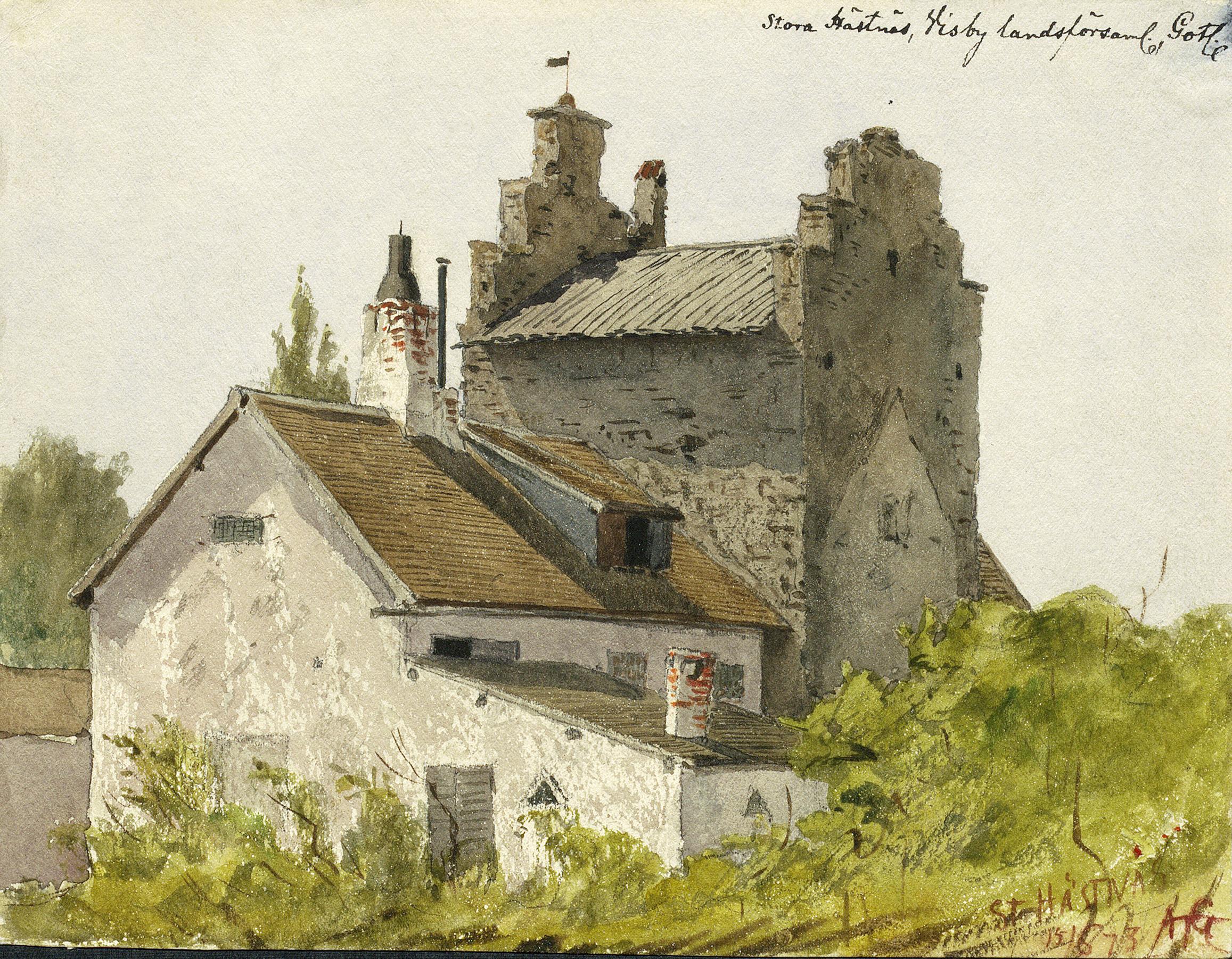14th century stone house, Stora Hästnäs, Visby, Gotland, Sweden