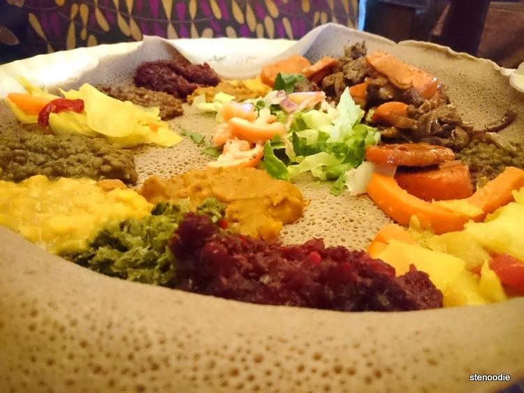 Close-up of Ethiopian vegetarian platter
