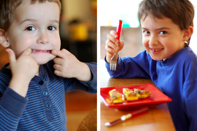 """The boys eating """"the kids' omelette"""" by Eve Fox, the Garden of Eating, copyright 2016"""