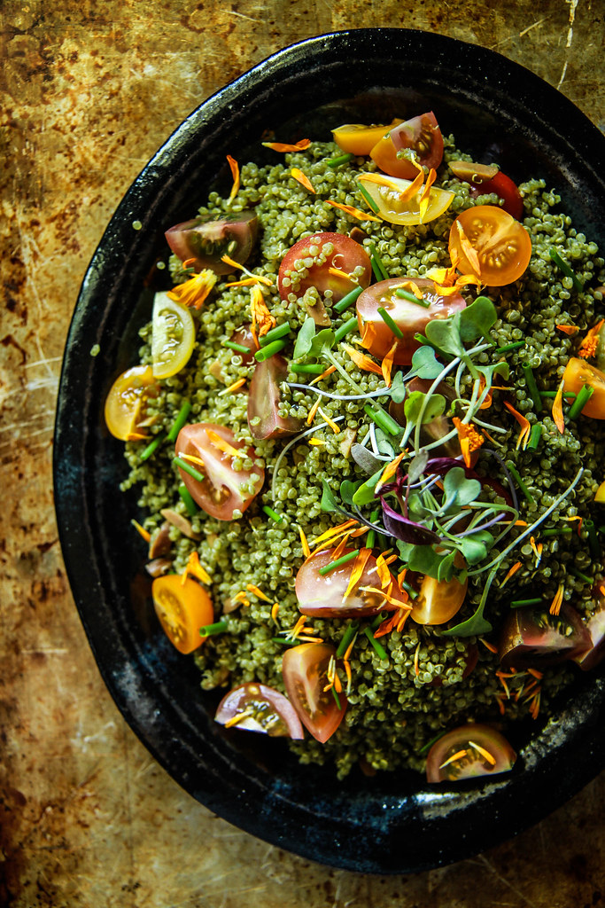 Tomato basil and toasted almond quinoa salad- gluten free and vegan