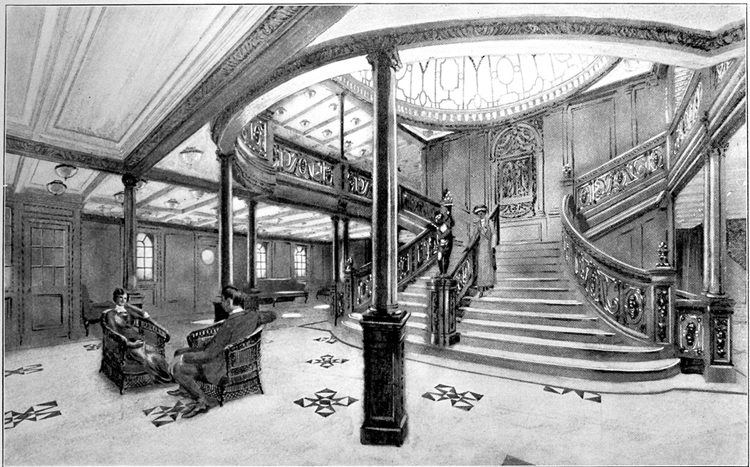 Drawing of the Grand Staircase onboard the RMS Titanic from the 1912 promotional booklet