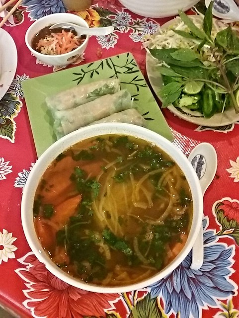 pho and spring rolls