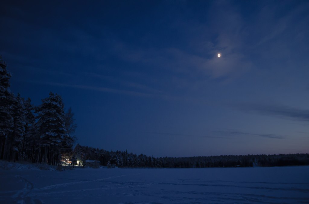 Frozen lake with  beautiful moonlight