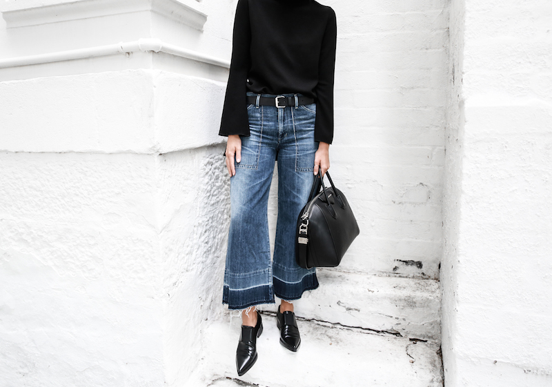 denim wide leg jeans street style Citizens of Humanity Melanie Givenchy Antigona medium street style inspo Stella McCartney loafers minimal Ellery flare sleeve top modern legacy fashion blogger  (7 of 15)