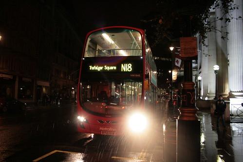 Metroline West VW1843 on Route N18, Trafalgar Square