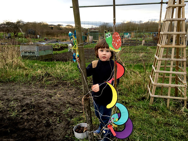 playing at the allotment