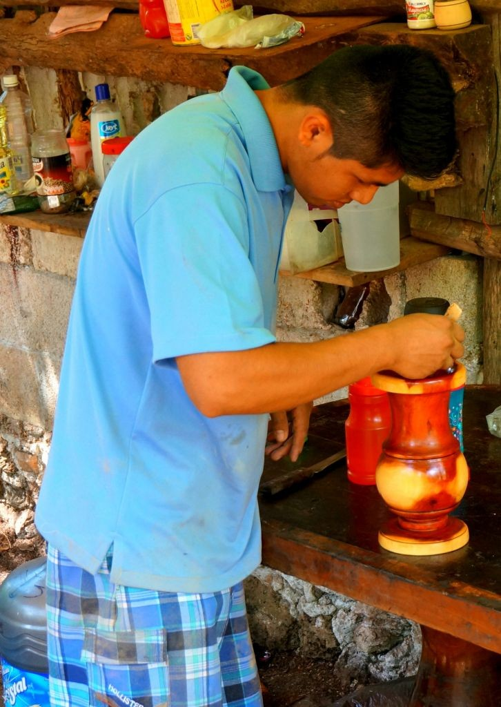 varnishing wooden vase