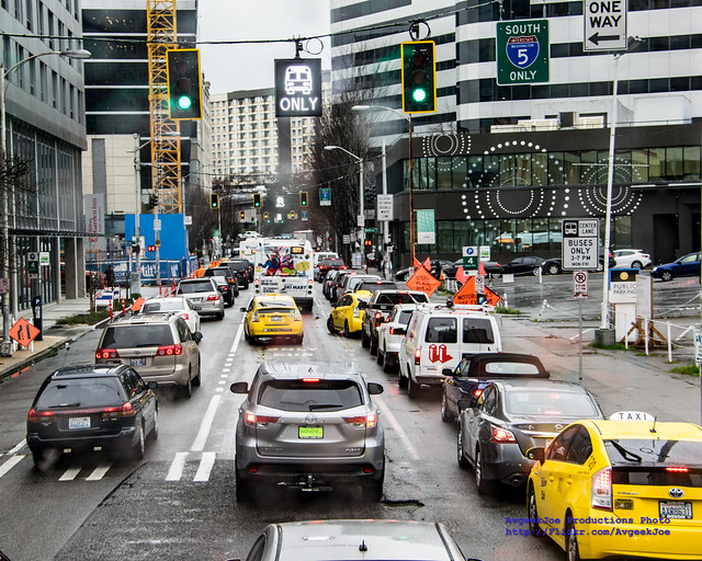 TOO MANY CARS IN A BUS ONLY LANE
