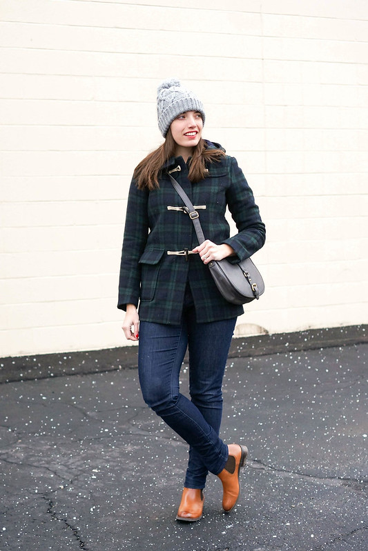 uniqlo black watch plaid coat + jeans + fair isle sweater + Target gray crossbody purse