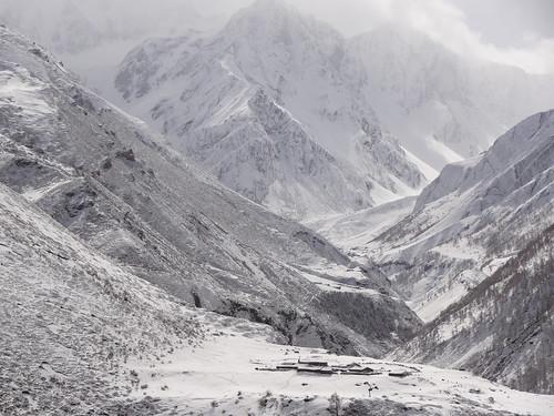 Looking east from Mu Gompa: a high yak kharka and the Phuchun Khola valley