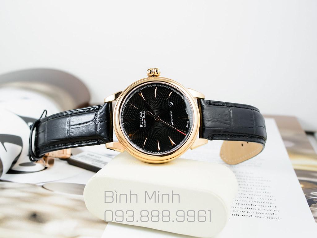 Đồng hồ Bulova AccuSwiss Gemini mạ vàng hồng, mới 100%, đủ hộp sổ thẻ, máy Automatic