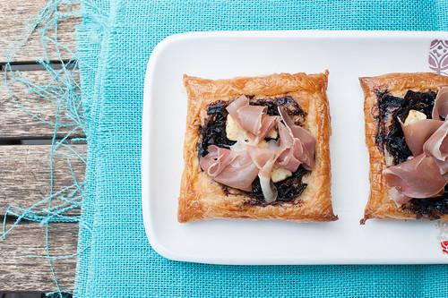 Balsamic Onion, Feta & Prosciutto Tarts