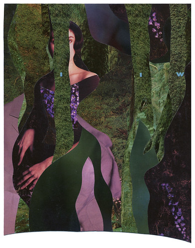 a collage body in moss green with purple accents, cut from magazine images