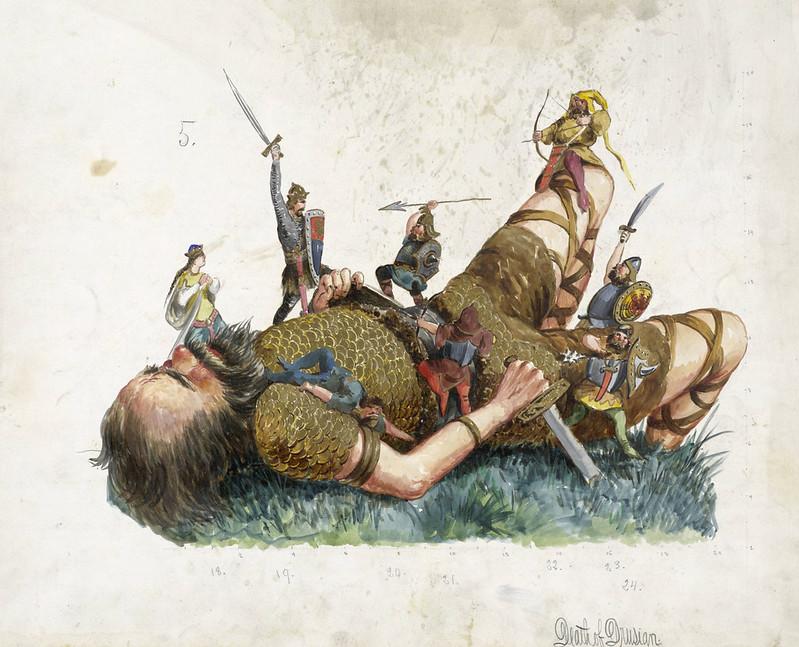 Carlotta Bonnecaze - Death of Drusian, float design from Krewe of Proteus, 1888