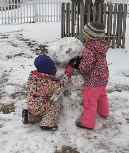 an April snowman