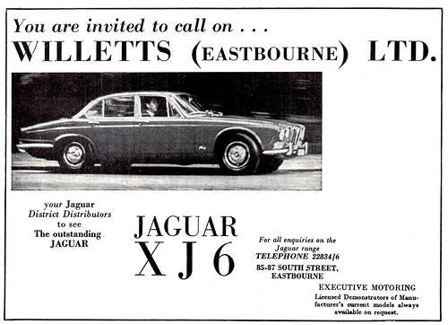 1970 ADVERT - WILLETTS JAGUAR SOUTH STREET EASTBOURNE - JAGUAR XJ6