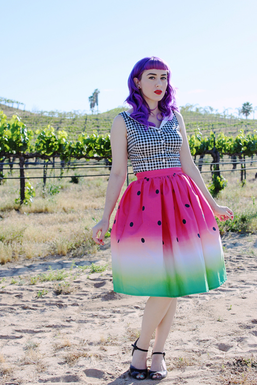Unique Vintage 1950s High Waist Watermelon Circle Swing Skirt Collectif 1950s Style Black & White Gingham Judy Button Up Stretch Top