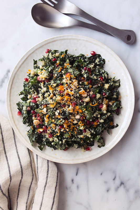 Kale and Quinoa Winter Chopped Salad with Pomegranate and Marcona Almonds