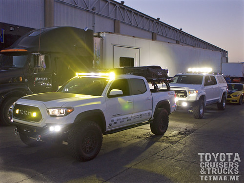 Jim Aker's 2016 Tacoma and Don Lamb's recently built Tundra are lined up and ready to parade in front of hundreds of SEMA attendees.
