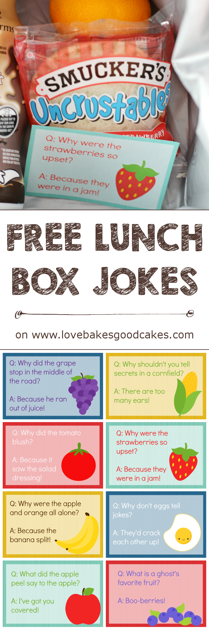 Make lunchtime more fun with these FREE Lunch Box Jokes and Smucker's Uncrustables collage.