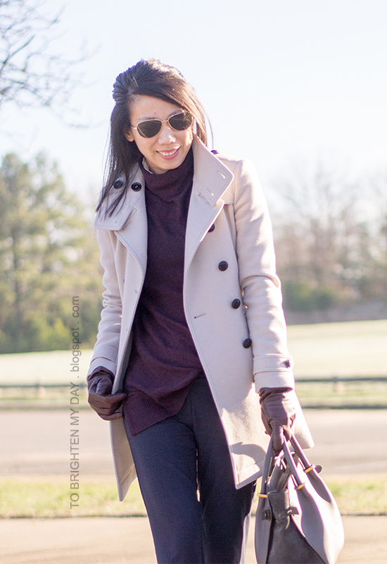gray wool trench coat, purple turtleneck sweater, navy trousers, purple leather gloves