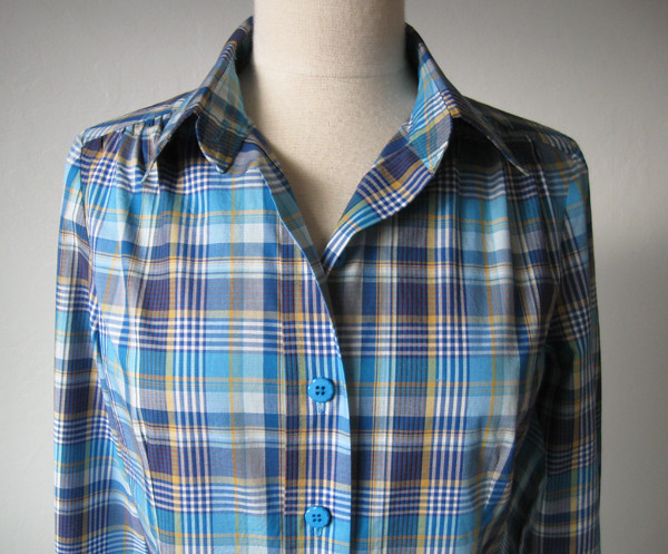 blue plaid shirt collar