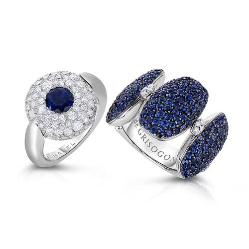 Chanel swivel ring diamond_sapphire, $15,000 and De Grisogono blue sapphire and diamond ring $6,500