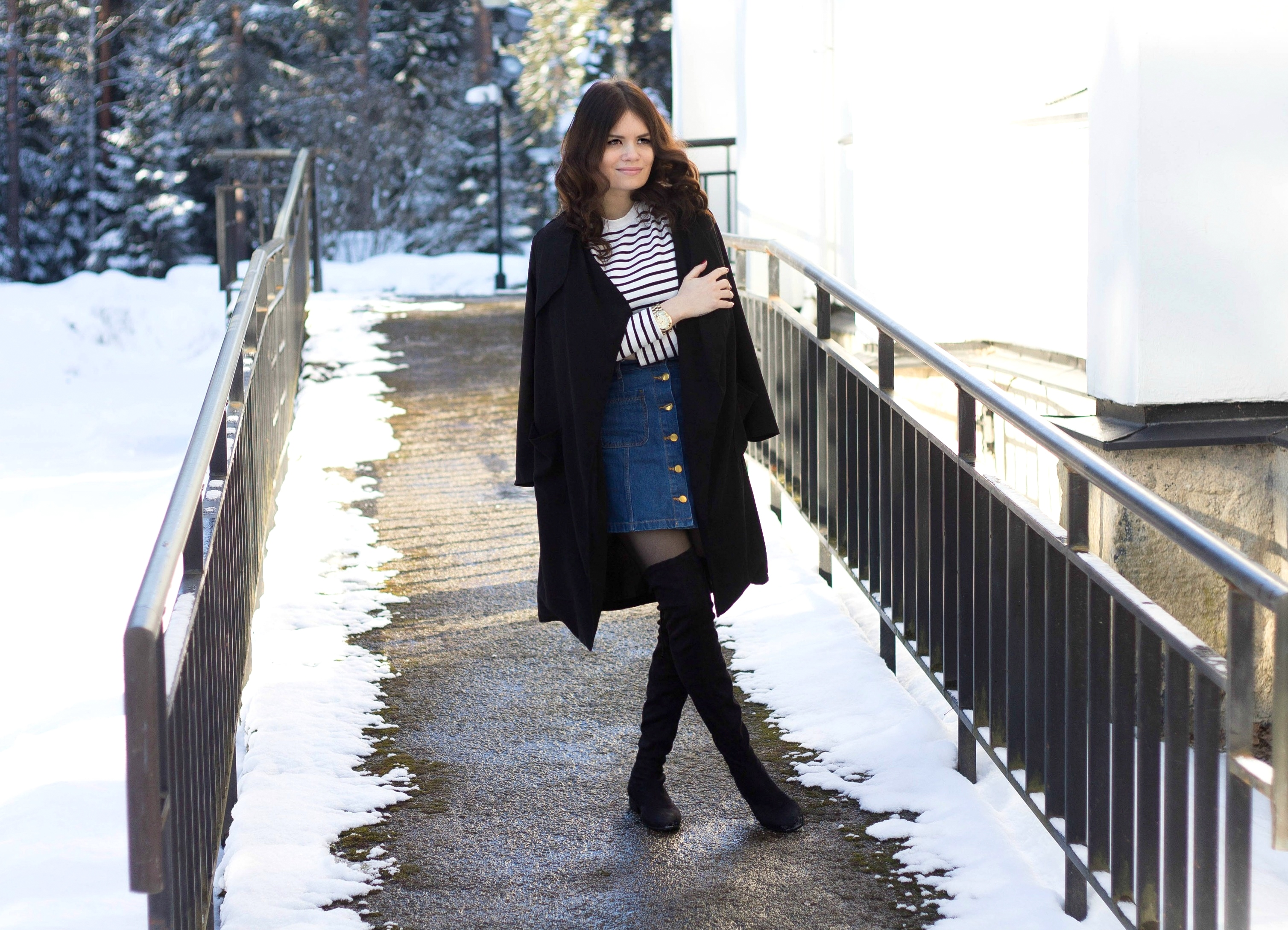 blue denim skirt outfit123