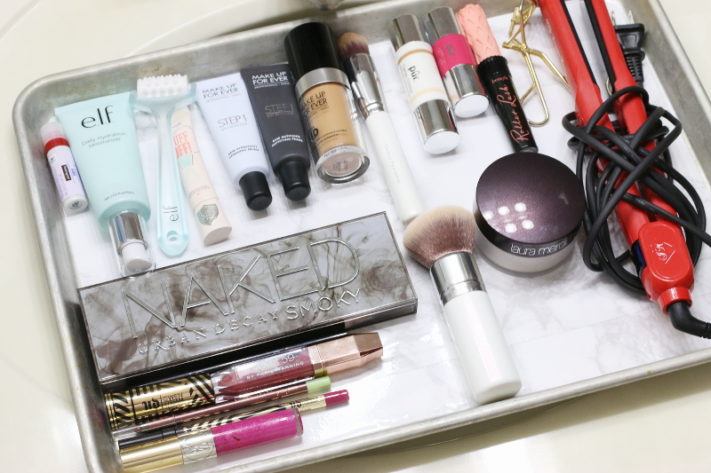 makeup beauty products, baking pan